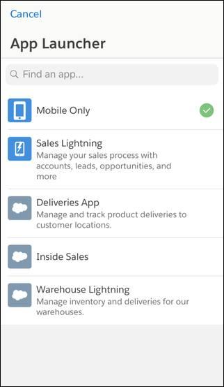 モバイルのアプリケーションランチャー
