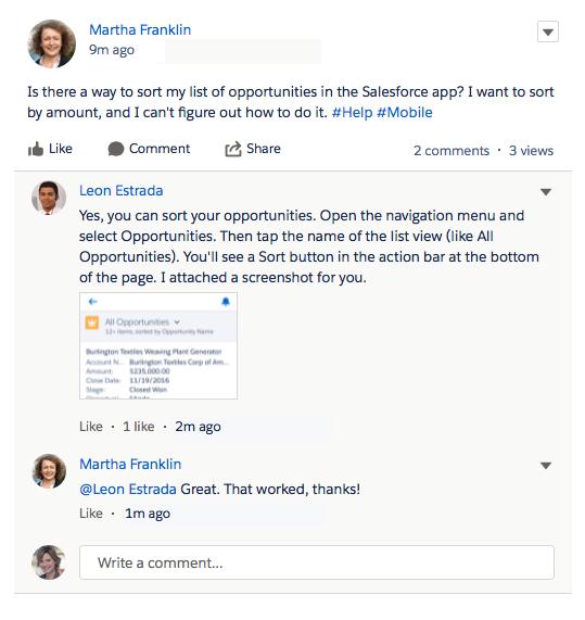 Screenshot mit einem privilegierten Benutzer bei der Beantwortung einer Benutzerfrage