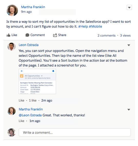 Captura de pantalla en la que se muestra a un superusuario respondiendo a la pregunta de un usuario