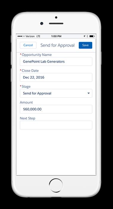 Uma captura de tela de uma atualização de oportunidade no Salesforce1