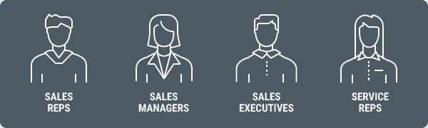 Die Grafik zeigt vier Typen von Außendienstmitarbeitern