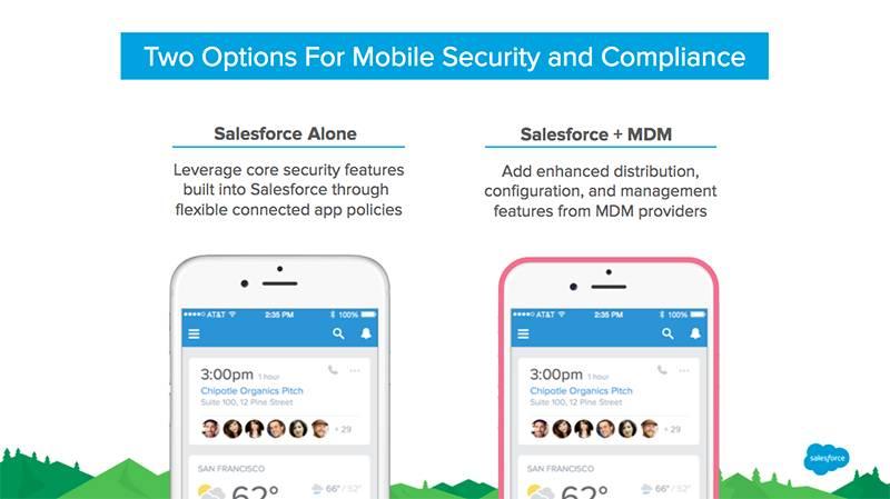 Grafik mit den beiden Sicherheitsoptionen für die mobile Bereitstellung