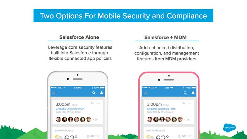 Gráfico que muestra ambas opciones de seguridad para la implementación móvil