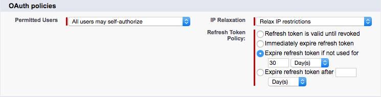 Captura de pantalla de políticas de OAuth de la aplicación conectada