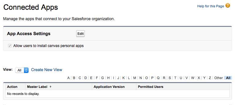Captura de tela do modo de exibição de lista Aplicativos conectados sem registros