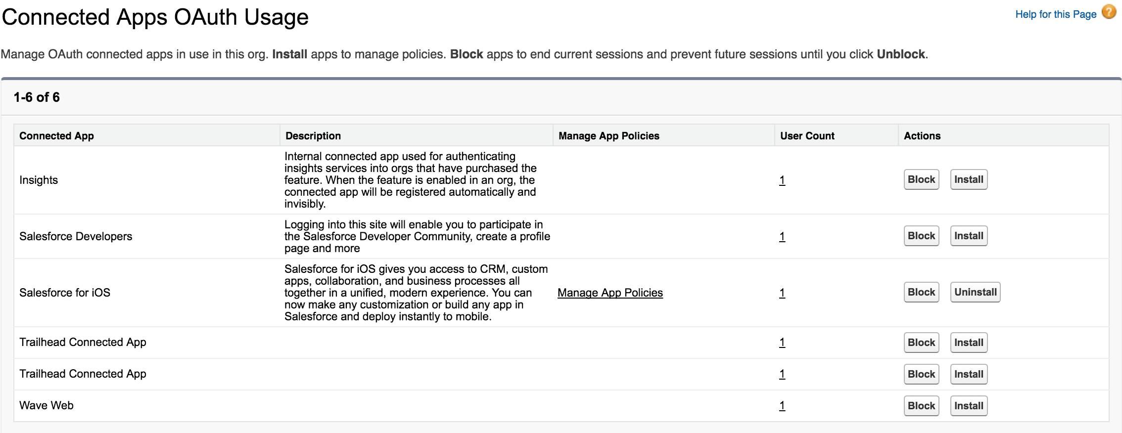 Captura de tela do uso de OAuth em aplicativos conectados