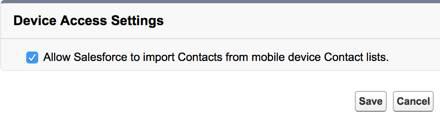 Captura de tela das configurações de acesso de dispositivo do Salesforce1