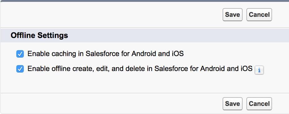 Captura de tela das configurações do Salesforce1 offline