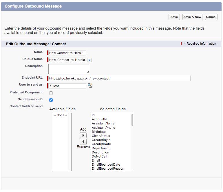 """Screenshot des Dialogfelds """"Ausgehende Nachrichten konfigurieren"""" mit der Nachricht """"Neuer Kontakt für Heroku"""""""