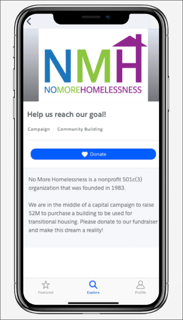 A campaign page for No More Homelessness on a mobile phone