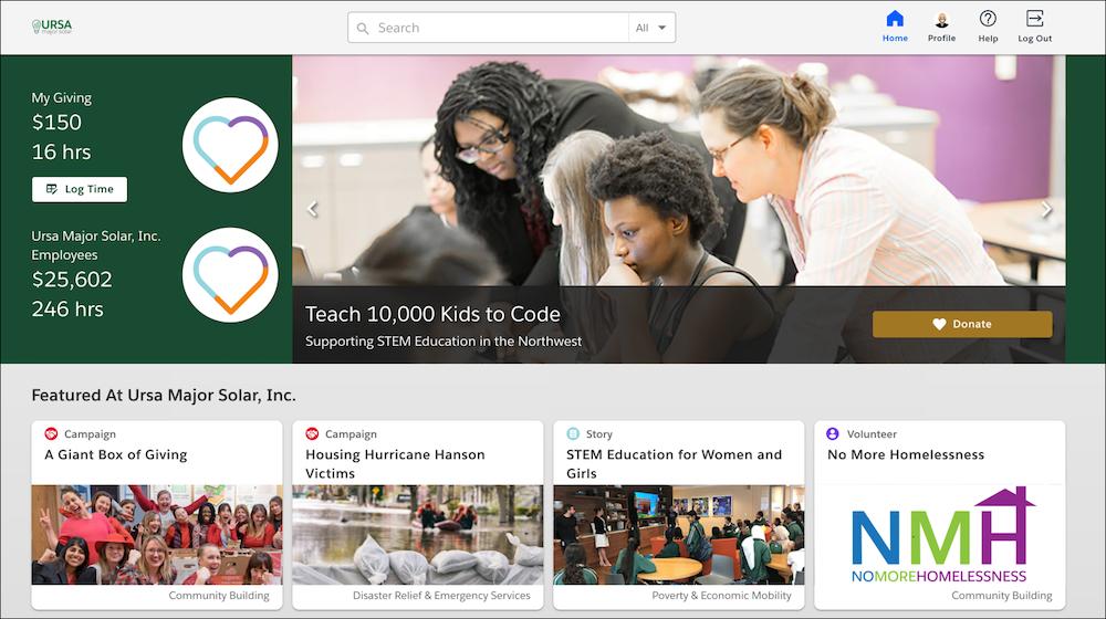 Screenshot of a Homepage
