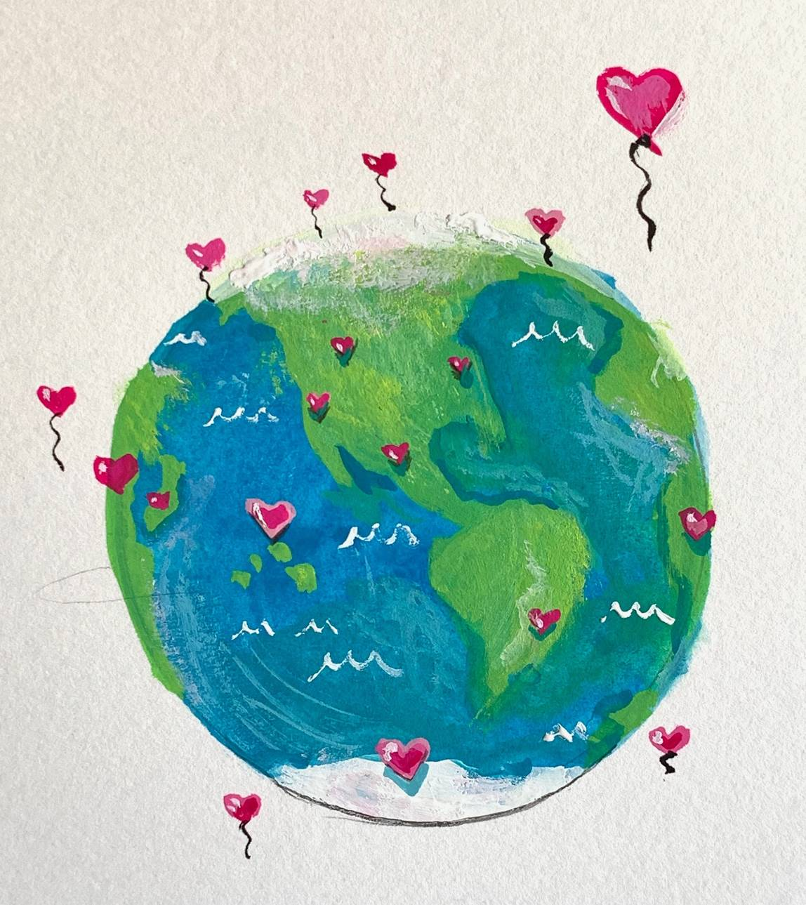 A host of heart balloons around the globe representing a world of engaged citizens