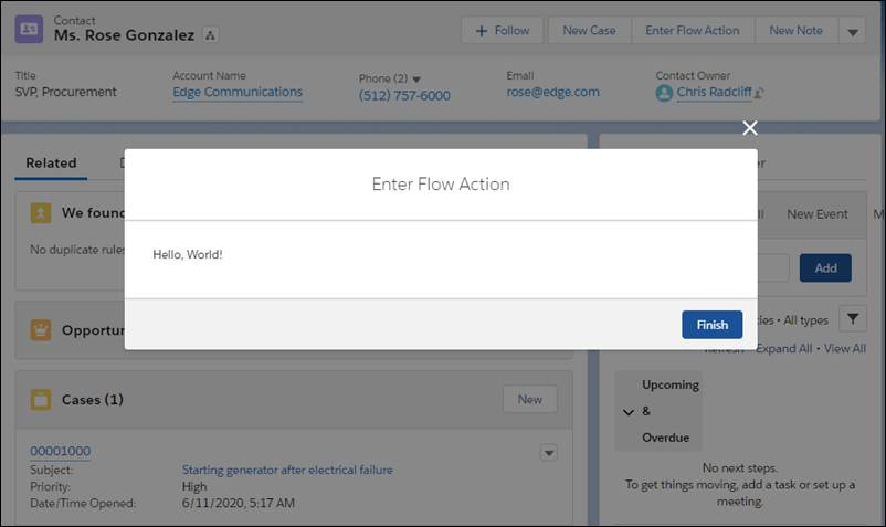 A Flow Action modal over the contact record for Ms. Rose Gonzalez. The modal's title is Flow Action, and it's displaying the Sample Flow flow.