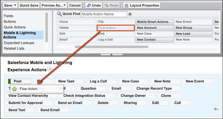 Dragging Flow Action into Salesforce Mobile and Lightning Experience Actions