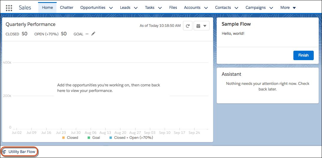 La barra de utilidades de la página de inicio incluye el Flujo Barra de utilidades.
