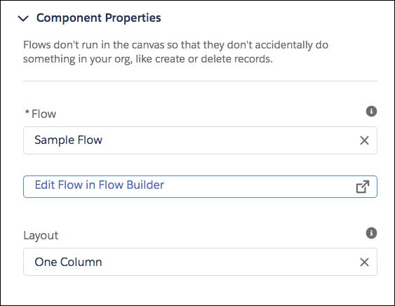 El panel de propiedades para un componente Flujo, donde Flujo es Flujo de ejemplo.