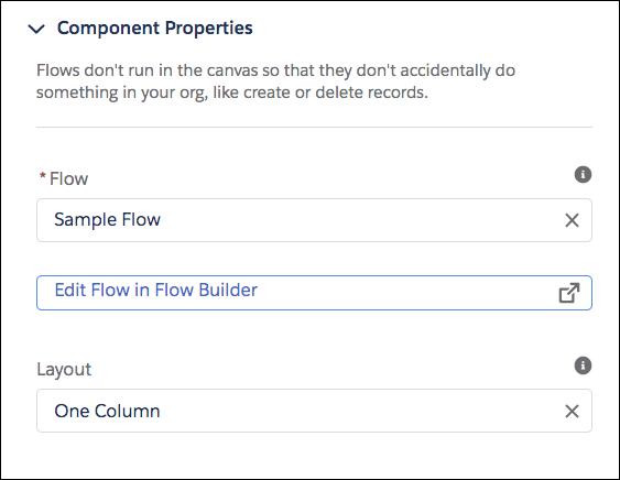 フローコンポーネントのプロパティペイン。[フロー] は [Sample Flow (サンプルフロー)] になっています。
