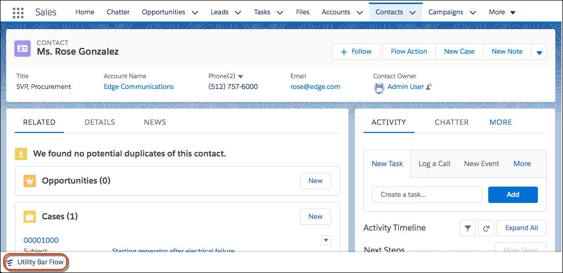A barra de utilitários no registro de contato da Sra. Rose Gonzalez também inclui o Fluxo da barra de utilitários.