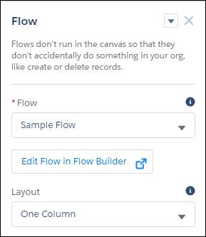 Setting properties for a Flow component in Experience Builder