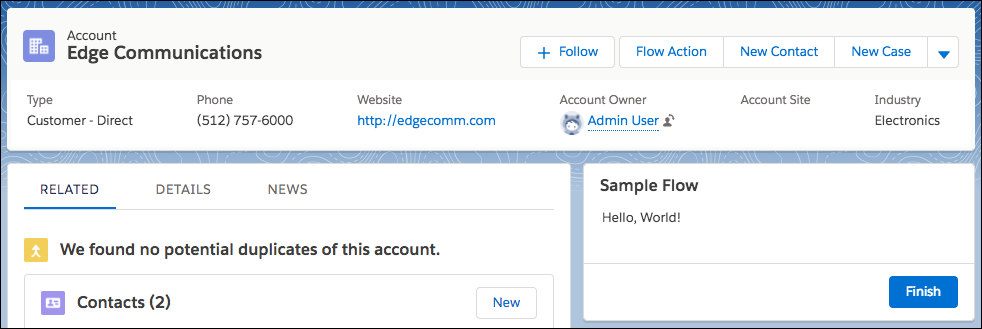 Sample Flow appears on Account record page