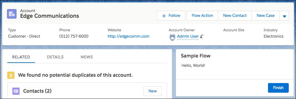 Flujo de ejemplo aparece en una página del registro Cuenta