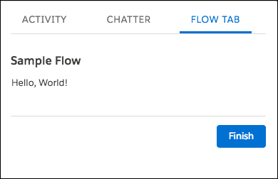 Lightning ページのタブ内に表示される [Sample Flow (サンプルフロー)]