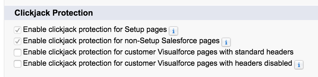 Clickjacking Salesforce Setting