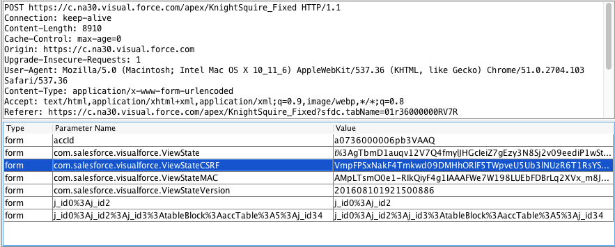 Screenshot of request header in the browser