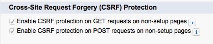 Salesforce の CSRF 用設定ページが表示されたスクリーンショット