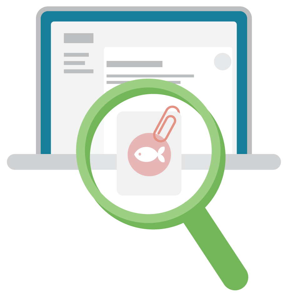 A magnifying glass identifies a risky phishing email.