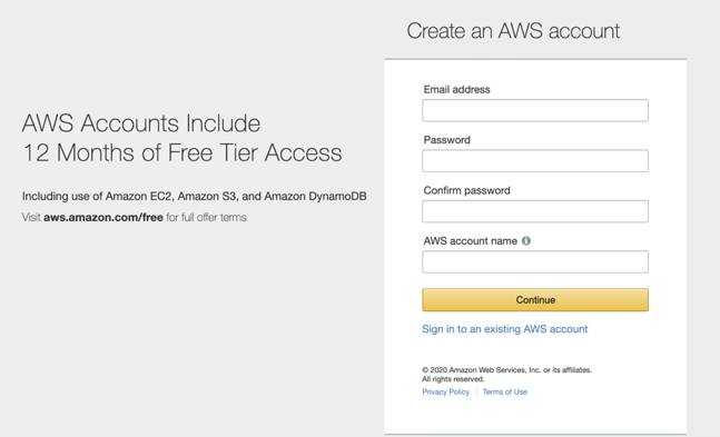 This is the AWS account creation page, where you can create an account to access AWS resources.