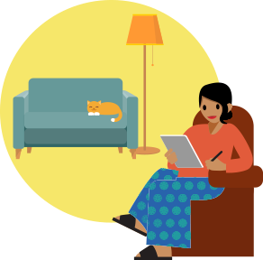 Person relaxing at home