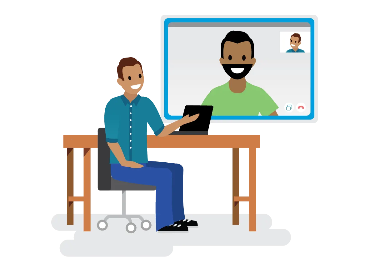 Two people connecting in a video meeting