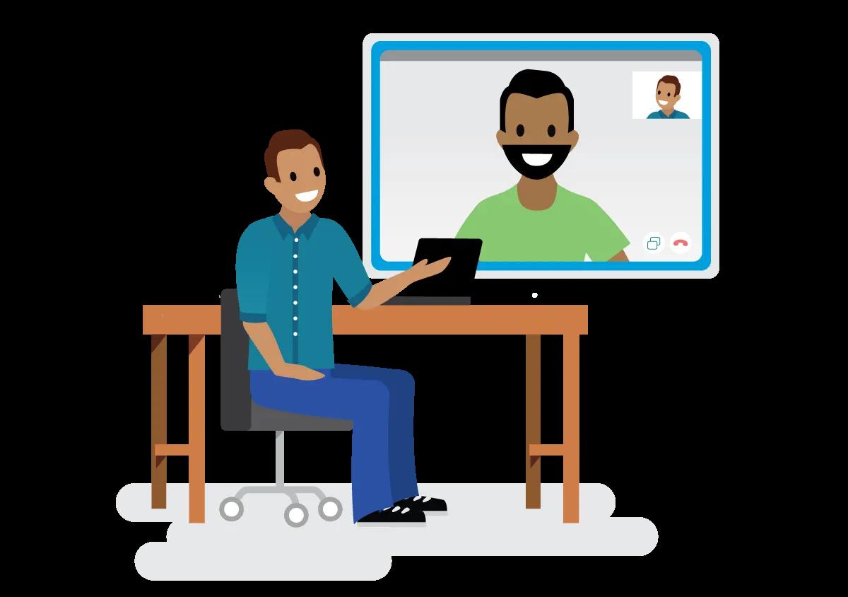 Duas pessoas mantendo contato em uma reunião por vídeo