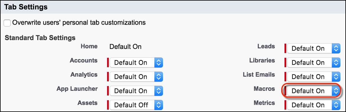 Tab Settings section, showing Macros set to Default On