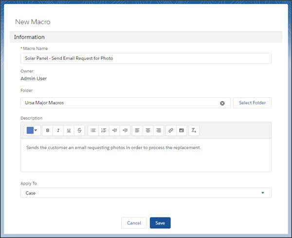 [新規マクロ] ページにソーラーパネルに関するマクロの詳細が表示されています。