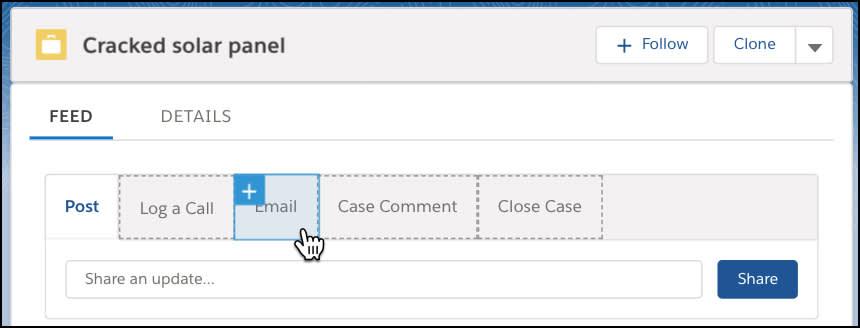 マクロビルダーのケースパブリッシャーで、[メール] アクションが選択されています。