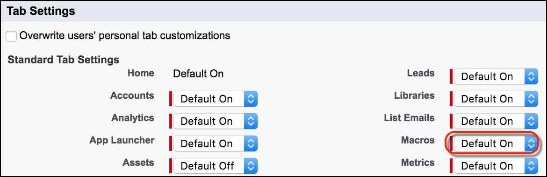 [タブの設定] セクションで [マクロ] が [デフォルトで表示] に設定されています。