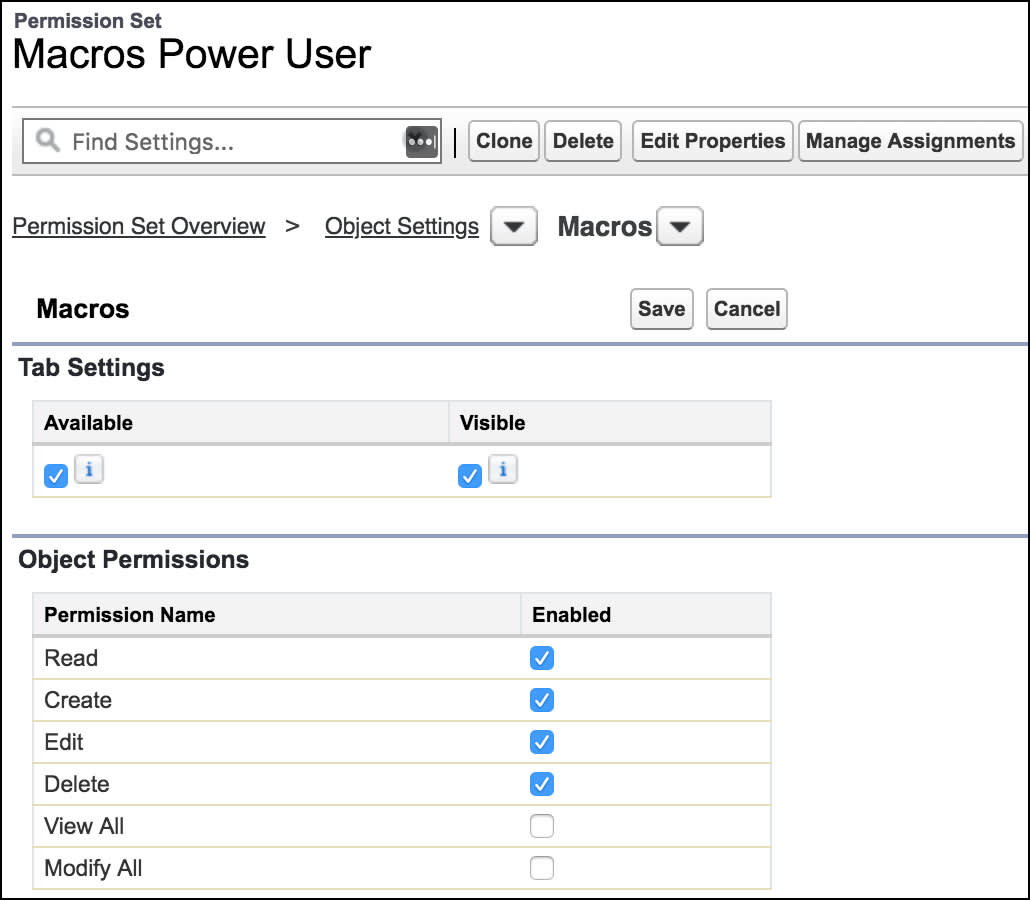 Page to create a permission set, showing macros object permissions