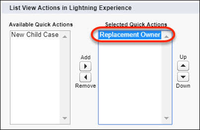 The List View layout's selected quick actions, showing the Change Owner action