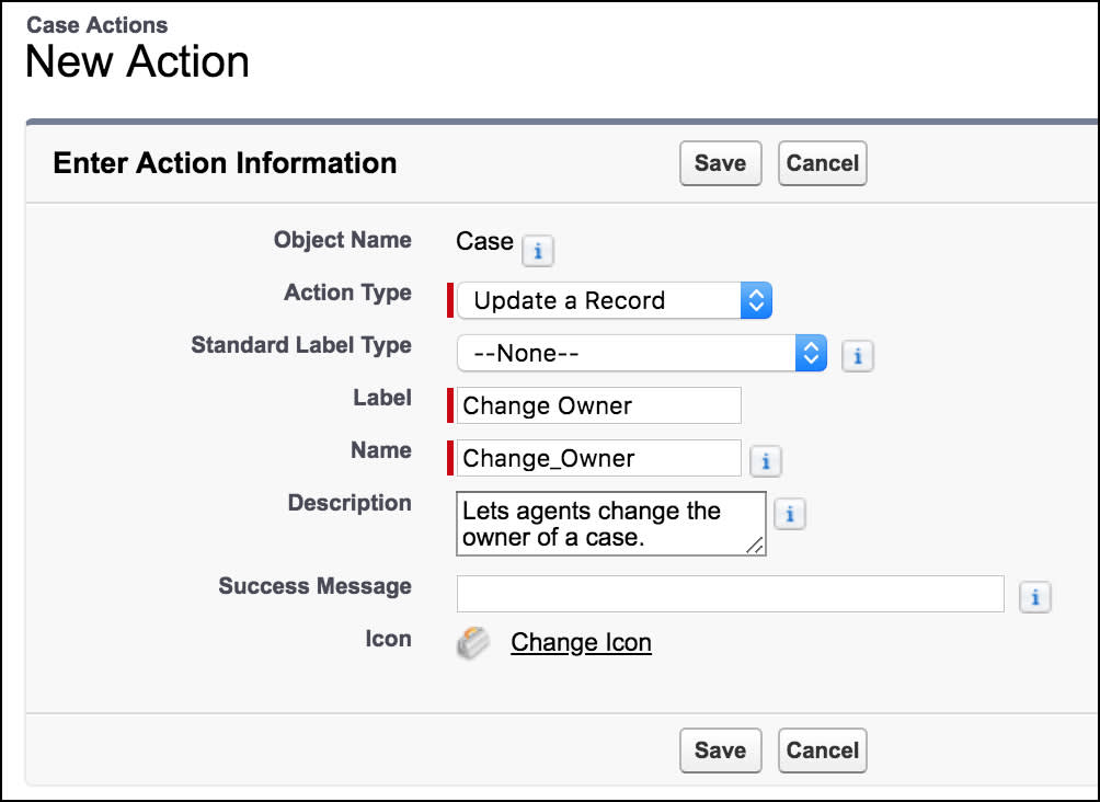 New action page, showing information to create an update action for cases