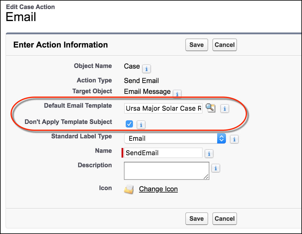 Edit action page, showing the Email action's email template information