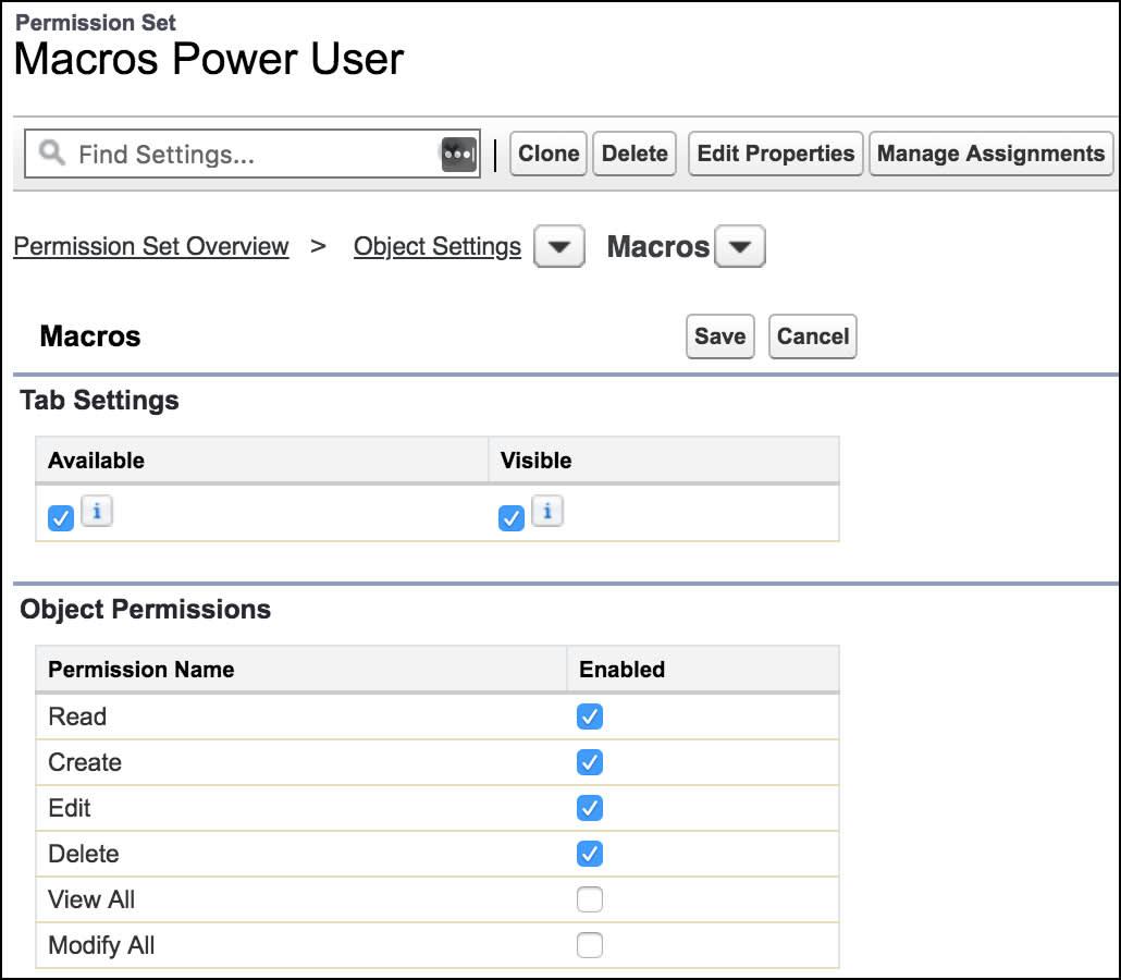 Page pour créer un ensemble d'autorisations, montrant les autorisations sur l'objet macros