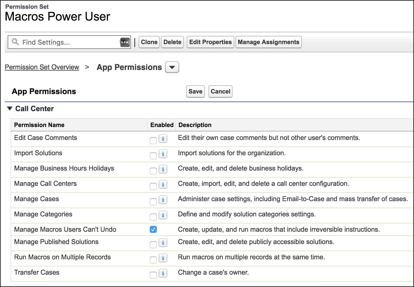 Page permettant de créer un ensemble d'autorisations, montrant l'autorisation Gérer les macros que les utilisateurs ne peuvent pas annuler
