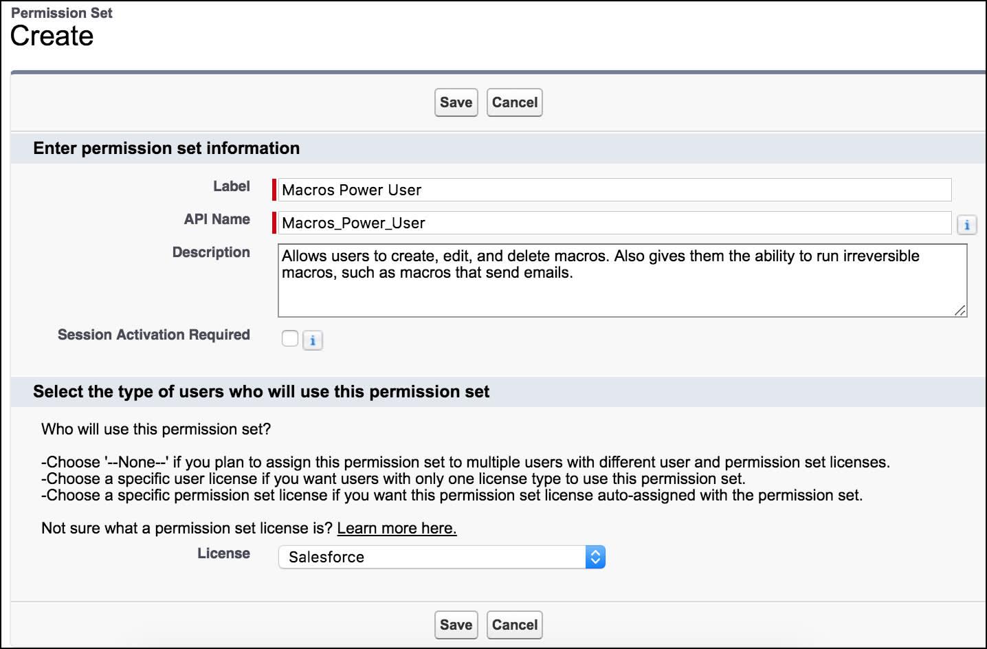 Page permettant de créer un ensemble d'autorisations, montrant des informations sur les macros