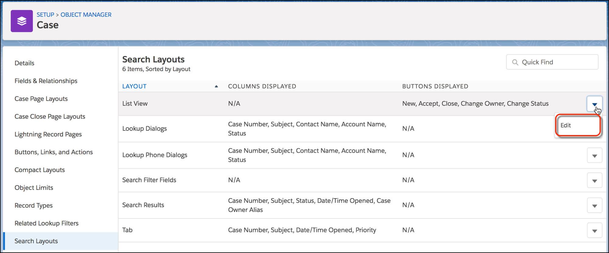 ケースオブジェクトの [検索レイアウト] ページで、[リストビュー] レイアウトの [編集] ボタンが表示されています。