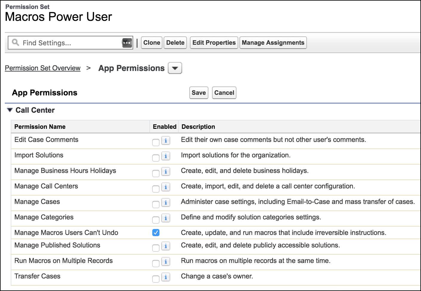 権限セットを作成するページに [ユーザが元に戻せないマクロを管理] アプリケーション権限が表示されています。