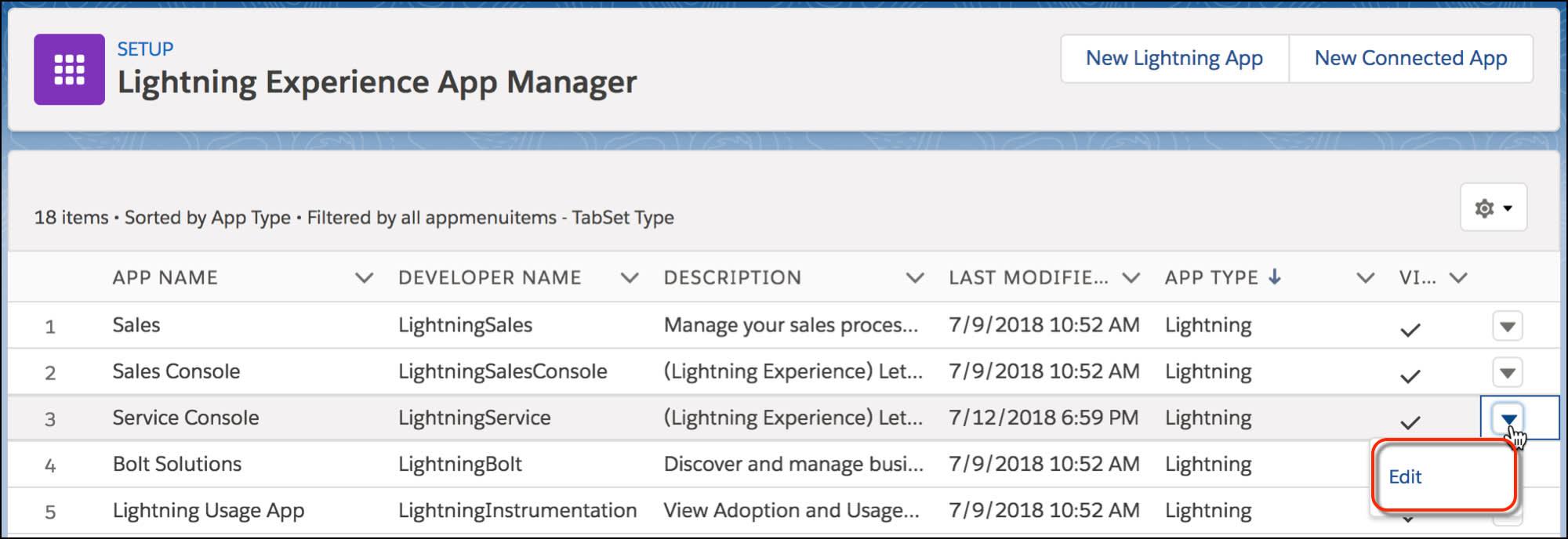 アプリケーションマネージャの設定ページに [サービスコンソール] アプリケーションの [編集] ボタンが表示されています。