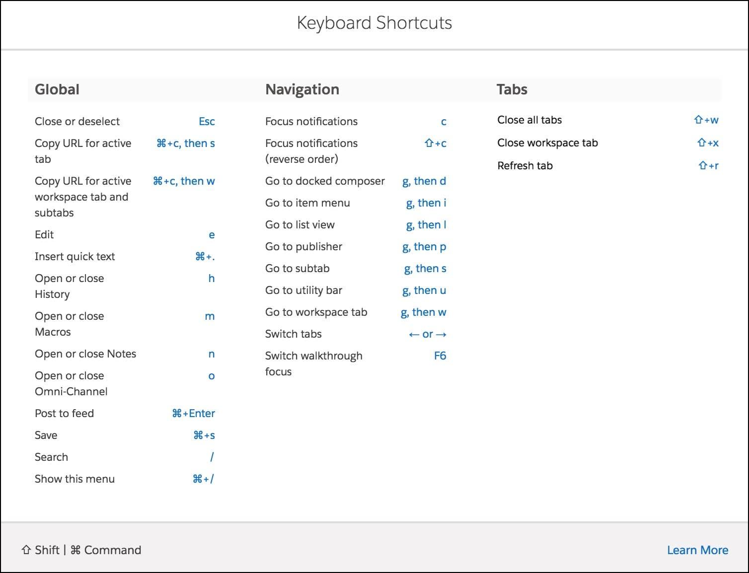 [キーボードショートカット] ウィンドウに、使用可能なすべてのショートカットが表示されています。