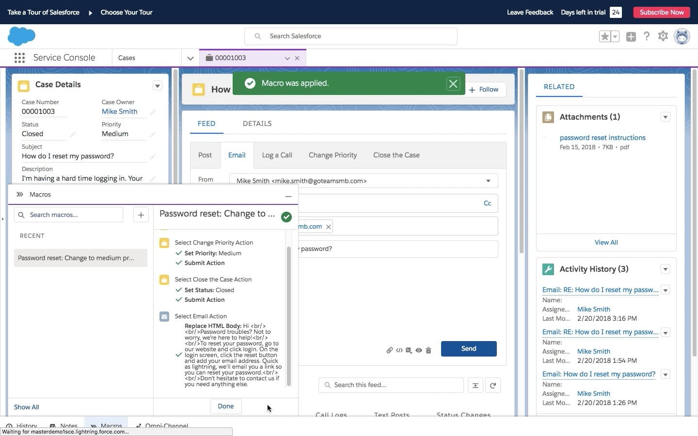 An open case in the console in Salesforce with the macros component open